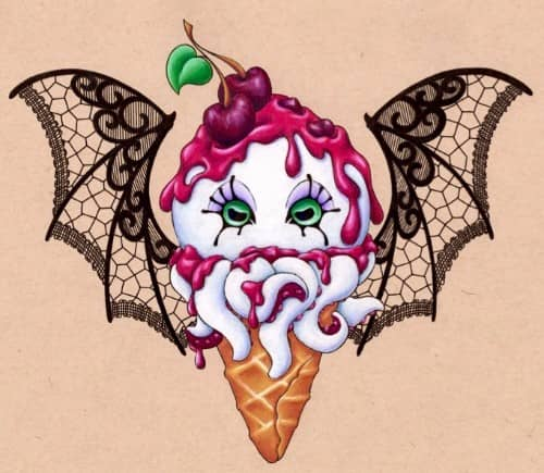 colored pencil by Starr, black cherry octopus ice cream cone