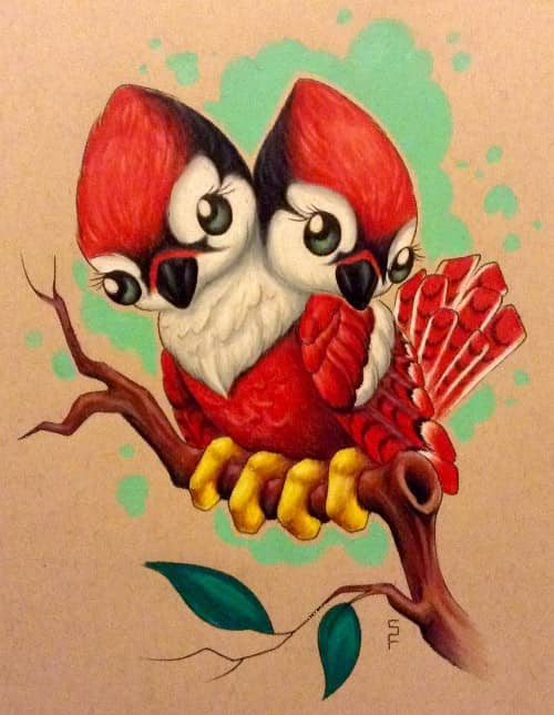 colored pencil by Starr, cute two headed cardinal