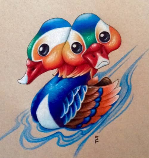 colored pencil by Starr, cute two headed mandarin duck