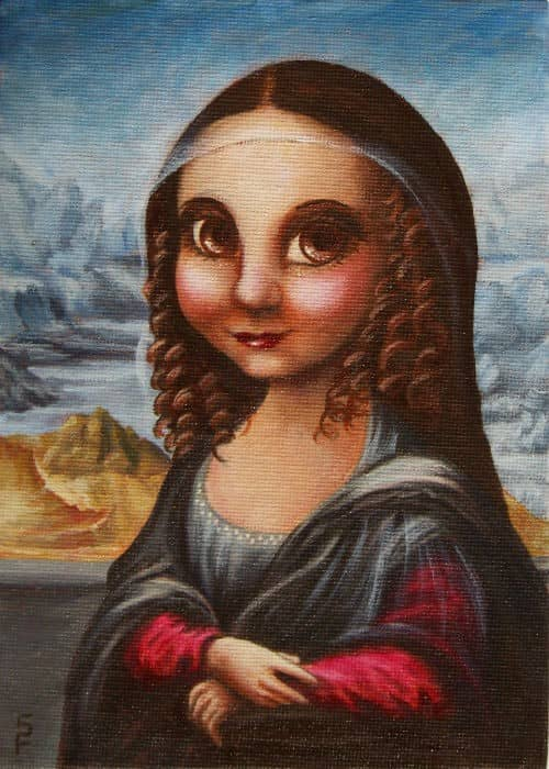 acrylic painting by Starr, cute mona lisa