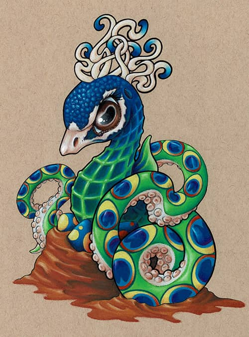 colored pencil by Starr, Seahorse, peacock, octopus hybrid sitting on eggs