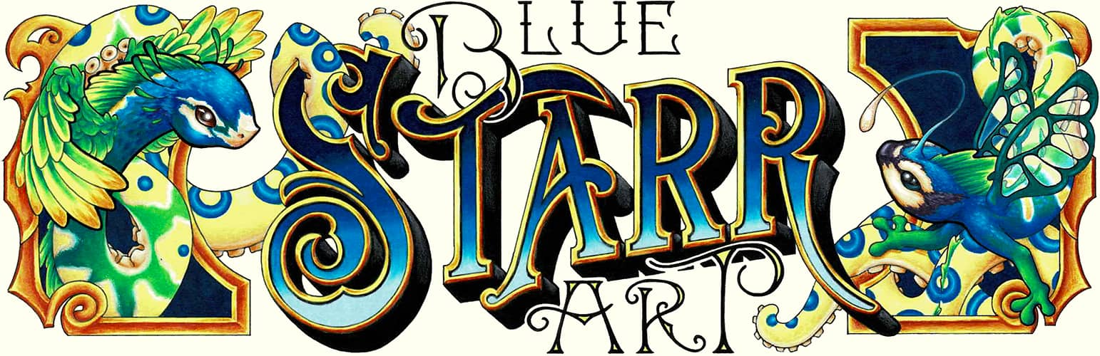 Blue Starr Art title with feathered peacock snake with blue ringed octopus tentacle and winged lizard with fish fins and cephalopod suckers
